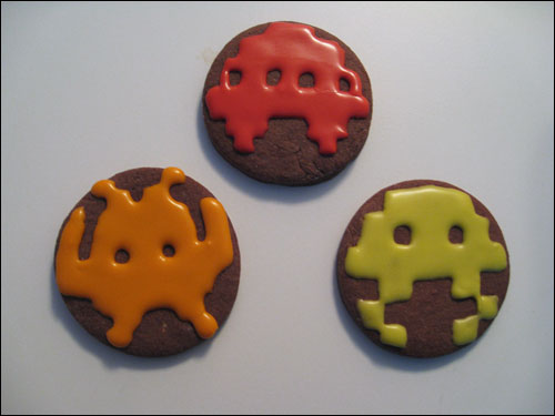 Space Invaders Chocolate Sugar Cookies