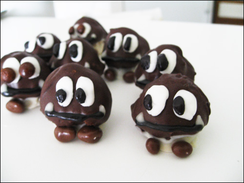 Chocolate Dipped Cake Goombas